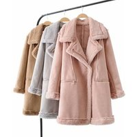 Autumn Winter Warm Korean japan Style faux suede fur coats outerwear Women long coat