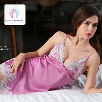 Guixiu ladies chemise babydoll nightwear night clothes Light Purple camisole silk pajamas GX18016