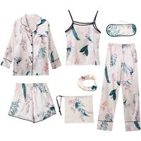 7 Piece Silk Woman Pajama Set Home Suit Summer Full Shorts Spaghetti Strap Spring Autumn Winter Cherry New Female Lovely Pyjamas