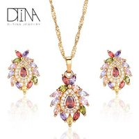 DTINA Luxury Droplet Necklace Earrings Jewelry Set Girls Party Jewelry