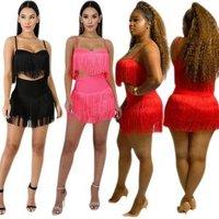 Strap  Crop Top Mini Skirt Two Piece Dress Women Clothes Set tassel Dance Clubwear Dresses OutFit