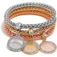 Fashion crystal gold charm bracelet set for women wholesale NS10001