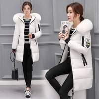 foreign trade ladies warm hooded cotton-padded clothes woman slim  long down winter  coat