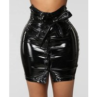 Women sexy solid mini slim fit star shiny pu leather skirt
