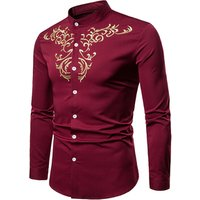 new casual mens embroidered long sleeve cotton dress shirts