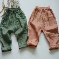 Kids Summer Trousers Children Girl Long Solid Linen Pants Toddler Flax Joggers Army Green Pink Breathable Toddler Clothes