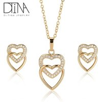 DTINA 2019 zircon jewelry set love shape heart-shaped girls earrings necklace jewelry set