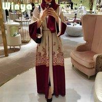 Hot Style Women Arab Muslim Kaftan Robes Grown Long-Sleeved Girl Hijab Red Abaya Maxi Dress