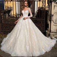 Sexy Illusion Lace Wedding Dresses 2019 Elegant Long Sleeve wedding dress bridal gown
