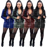 sexy women pu leather jacket jacket and skirt set