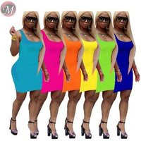 9061017 queenmoen women summer fashion clothing casual sleeveless plain pencil dress with 6 colors