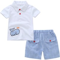 Cute Cartoon Baby Clothing Sets Summer Short Sleeve Blue Whale Pattern Shorts Little Boys Causal Cotton Clothes Set Cheap Price
