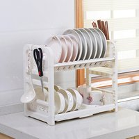 New products double tier plastic cutlery drainer kitchen holder dish rack
