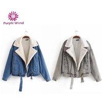 Winter sherpa moto denim women jean jackets girl denim jacket