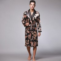 Male Silk Dressing Gown Extra large Robe With Dragons Mens Satin Bathrobe Silk Kimono Men