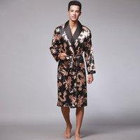 Male Silk Dressing Gown Extra large Robe With Dragons Mens Satin Bathrobe Silk Kimono Men