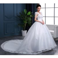 Lace Cap Sleeves Bridal wedding gown with Long Tail High quality Wholesale cheap wedding dresses made in China