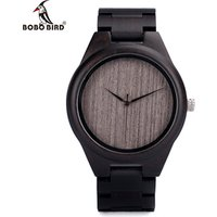 BOBO BIRD China wholesale natural ebony handcrafted men wooden wristwatch with no scale dial