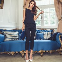 Fashion OL Women Suit Sleeveless Tops And Calf-Length Pencil Pant Suit 2 Pieces Solid Outfits Summer Work Business Wear E3023