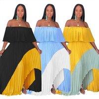 A075080 hot selling summer off shoulder patchwork lady pleat long asymmetrical maxi chiffon dress