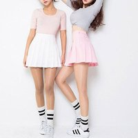 YSMARKET 7 Color Spring high waist ball pleated skirts harajuku solid a-line sailor skirt Plus Size Japanese school uniform