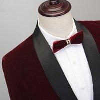 Velvet Suit Wedding Suit for Groom Wine Red 2 Piece Coat Pant Men Suit