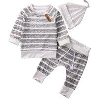 BKD clothing sets autumn spring fashion  striped 3pcs baby clothing sets