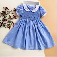baby smocked clothing hand made girls smocked dress summer short sleeve solid kids solid frock children clothes wholesale lots