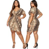 Free Shipping Fashion Brand snake skin print Women Dress Plus Size 5XL V Neck Pencil Casual Summer Knee Length Oversized Dress