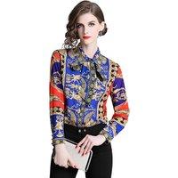 Wholesale New Fashion Ladies Blouses Slim Women Flower Printed Blouse Office Work Wear Shirts Women Blusas