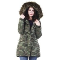 P01 camo Winter New Products Fur Lining and Fur Collar Camouflage Ladies Parka Jacket