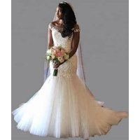 African Wedding Gowns White Mermaid Design Cap Sleeve Custom Made Applique Wedding Dresses