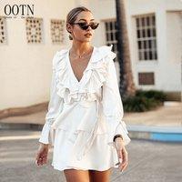 OOTN 2019 V Neck Loose Ruffle Female Sundress Tunic Fashion Women Long Sleeve Autumn Winter Casual Dress White Mini Short Dress