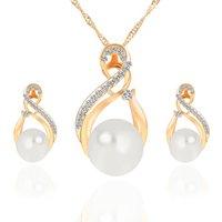 fashion rhinestonebride wedding jewelry women pearl necklace and earring bridal jewellery set