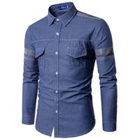 fashion denim fabric washed long sleeve men jean dress shirts