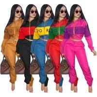 SAD9052 wholesale zipper jacket and jogger pants ladies track suit casual woman 2pcs set