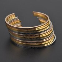 Wholesale Engraved Inspirational Stainless Steel Bracelet Jewelry ,Custom Women Gold Cuff Bangle Bracelets
