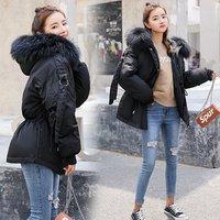 cheap price black faux fur collar hooded women winter down jacket