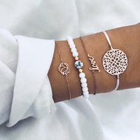New Elegant Ladies White Stone Bracelet Love Letter Skeleton Flower Fancy Women Gold Chain Lotus Bracelet Charm