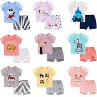 Papa Care Toddler Cotton Clothes Sets Short Sleeve Tee and Shorts Kids Clothing Baby Newborn Summer Clothes for Boys And Girls