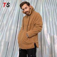 Mens fleece Jacket Zip pullover Soft Teddy Hooded Jumper Jacket Coat