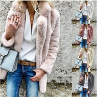 New High Quality Warm solid color long-sleeved lapel womens fluffy coat cardigan coat womens clothing