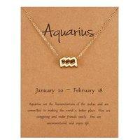 12pcs Astrological Zodiac pendants set 12 signs Gold Necklace set , Polished Gold -Plated
