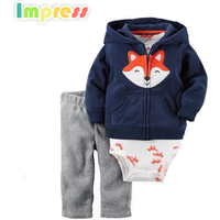3 Piece cotton terry cardigan set winter clothing sets for baby boy