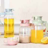 Heat resistant glass hot and cold plastic water filter jug with lid and handle