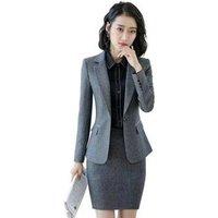 Womens Single Office Lady Blazer Business Grey Set Women Suits For Work