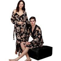 Wholesale silk couple pajamas ladies summer three-piece suit long-sleeved mens robe bathrobe Sleepwear