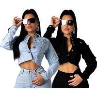 0625M0169  fashion short button-down backless   new arrivals hight quality women clothing  apparel woman denim  coat