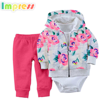 Wholesale baby clothes girls 100%cotton soft flower printed cardigan bodysuit set