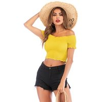 Hot sale fashion sexy ruffled lace up blouse women off shoulder crop top for girls